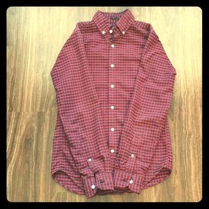 J. Crew Slim XS Oxford Shirt in Navy and Red Check